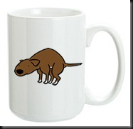 mug pooping dog