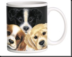 mug three puppies